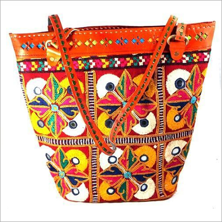 Gujarati Leather Embroidery Shopping Bag