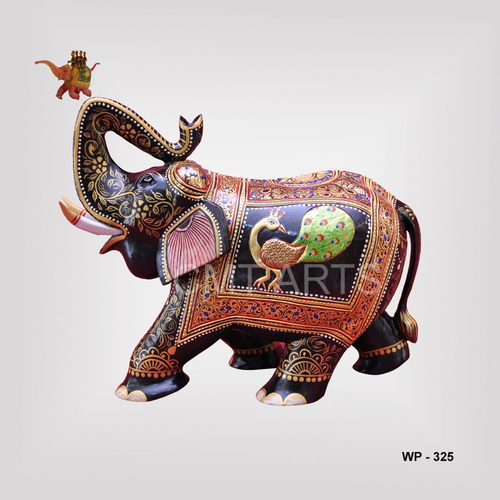Wooden Trunk-up Elephant