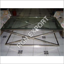 Steel Coffee Table with Glass Top