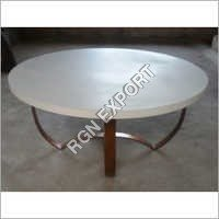 Wooden Coffee Table with Iron Base