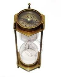 Nautical Antique Two Sided Compass Sand Timer