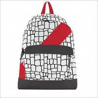 Black & White Crock Print with Red Slash Canvas Bookbag