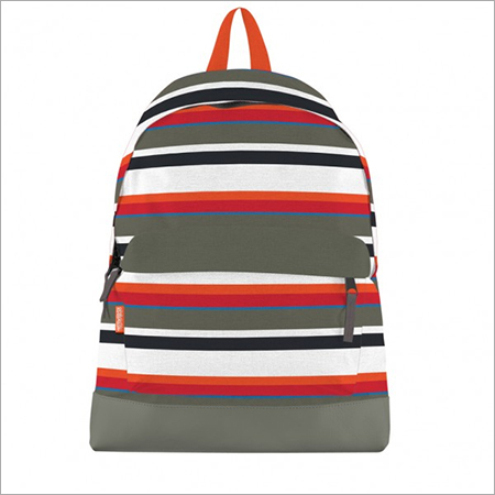 Orange, Grey Black Striped Canvas Bookbag