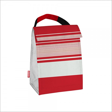 Red & White Stripe Print Thermal Lunch Tote