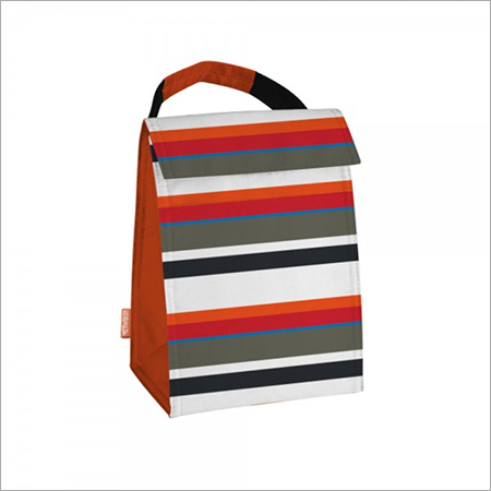 Red, Orange, Black, Grey, Blue Stripe Print Thermal Lunch Tote