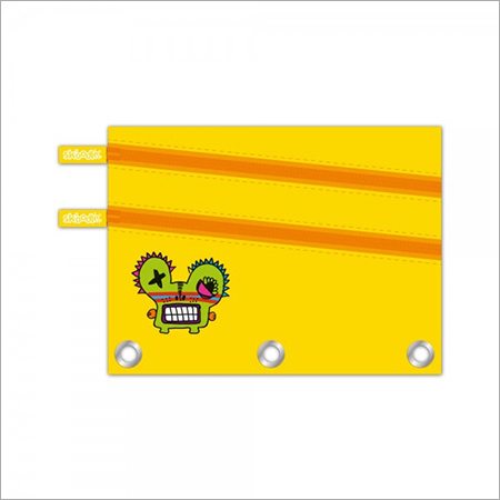 Yellow Three Ring Dual Zipper Pencil Pouch