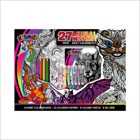 Animal Instinct 27pc. Adult Coloring Kit