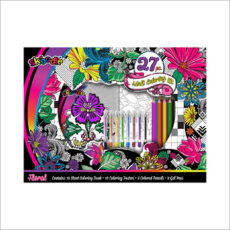 Floral 27pc Adult Coloring Kit