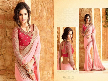 Buy Embroidered Blouse Saree Online