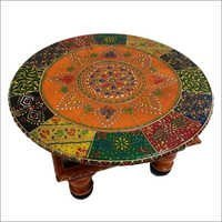 Wooden Handcrafted Beautifully Embossed Ethnic Multicolored Chowki Bajot