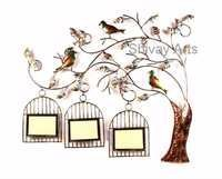 Contemporary Metal Tree Wall Decor Wall Hanging With 3 Photo Frames