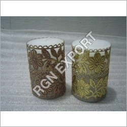 Pillar Candle With Metal Cage