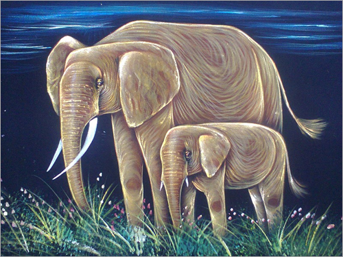 Elephant and Calf Painting