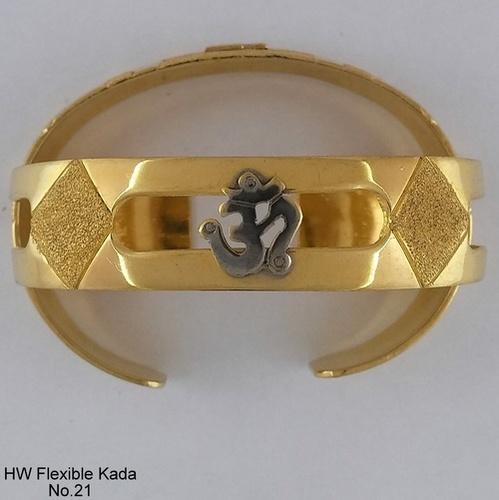Gold Plated Bright Gold Flexible Kada