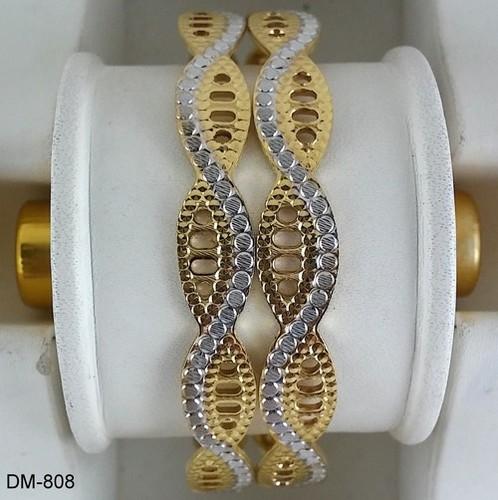 Gold Plated Rhodium Finish Diamond Moving Bangles