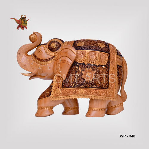 Wooden Antique Finish Carving Elephant