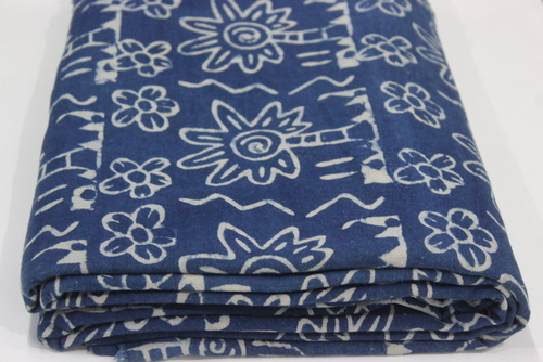 Hand Block Print Indigo Blue Fabric