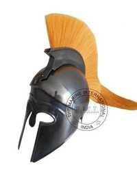 Black Corinthian Helmet With Yellow Plume