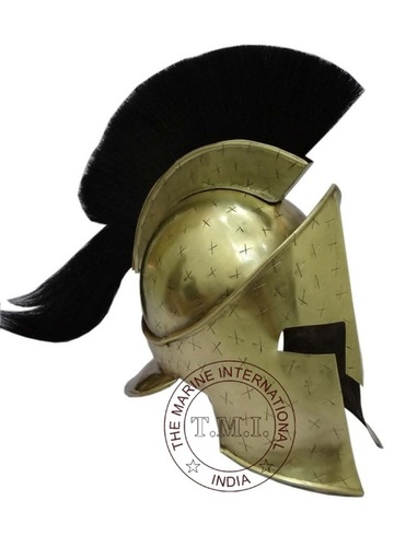 Brass Antique 300 Spartan Helmet With Black Plume