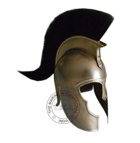 Antique Troy Armour Helmet With Black Plume