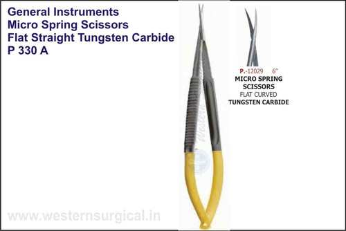 Micro Spring Scissor Flat Straight & Curved Tungst