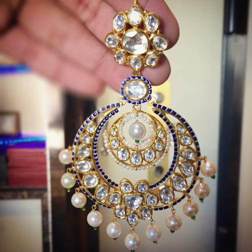 Gold Polki Designer Diamond Earrings