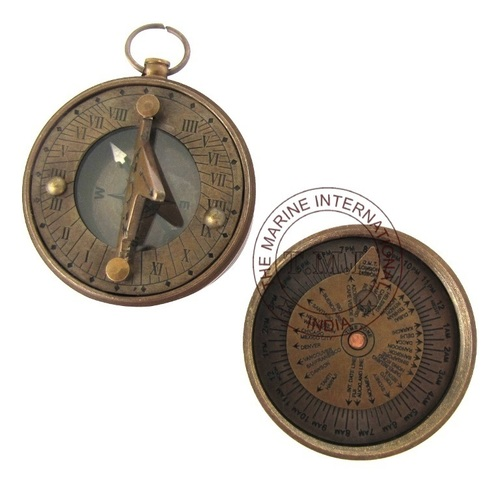 Antique Nautical Pocket Sundial Compass