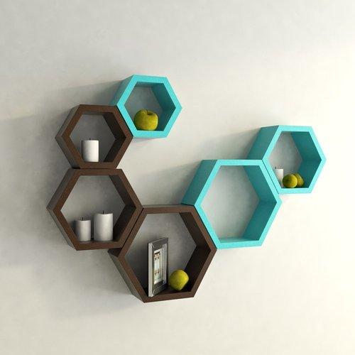 Desi Karigar Wall Mount Shelves Hexagon Shape Set of 6 Wall Shelves - Brown & Sky Blue