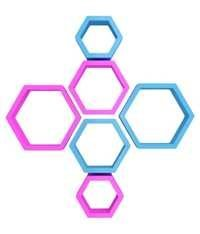 Desi Karigar Wall Mount Shelves Hexagon Shape Set of 6 Wall Shelves - Pink & Sky Blue