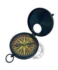 Antique Flat Compass With Window Glass