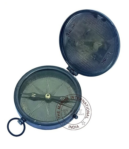 Black Antique Sinking Of The Titanic Compass