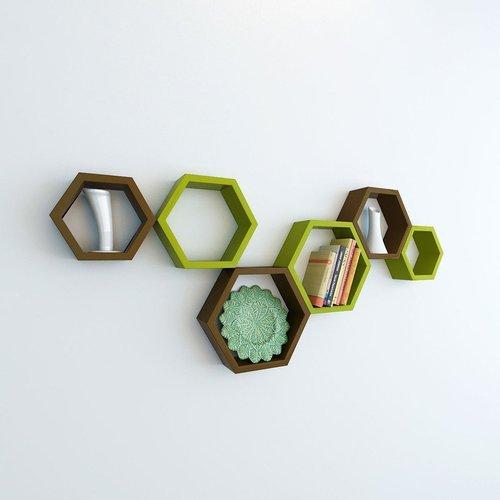 Desi Karigar Wall Mount Shelves Hexagon Shape Set of 6 Wall Shelves - Brown & Green