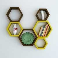 Desi Karigar Wall Mount Shelves Hexagon Shape Set of 6 Wall Shelves - Brown & Yellow