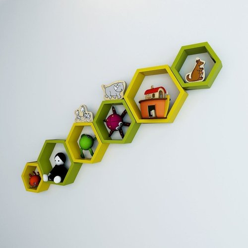Desi Karigar Wall Mount Shelves Hexagon Shape Set of 6 Wall Shelves - Yellow & Green