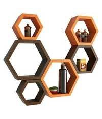 Desi Karigar Wall Mount Shelves Hexagon Shape Set of 6 Wall Shelves -Brown & Orange
