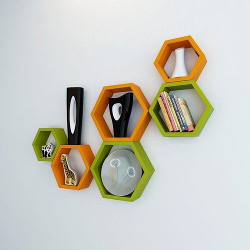 Desi Karigar Wall Mount Shelves Hexagon Shape Set of 6 Wall Shelves - Green & Orange