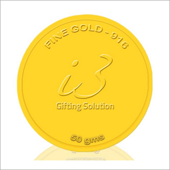 Customised 50 Gm Gold Coin-916 Purity