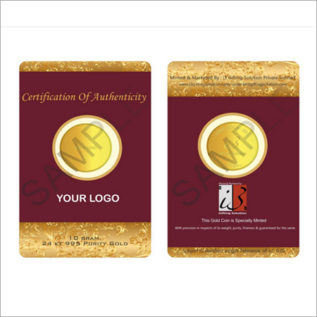 Customised 20 Gm Gold Coin-916 Purity