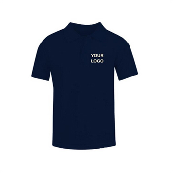 True-navy Cotton With Lycra Collar Neck T-shirt