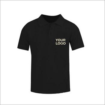Black Cotton Collar Neck T-shirt