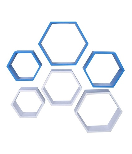 Desi Karigar Wall Mount Shelves Hexagon Shape Set of 6 Wall Shelves - Sky Blue & White