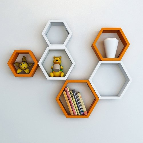 Desi Karigar Wall Mount Shelves Hexagon Shape Set of 6 Wall Shelves - Orange & White