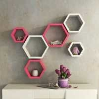 Desi Karigar Wall Mount Shelves Hexagon Shape Set of 6 Wall Shelves - Pink & White