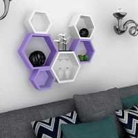 Desi Karigar Wall Mount Shelves Hexagon Shape Set of 6 Wall Shelves - Purple & White