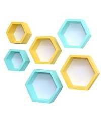 Desi Karigar Wall Mount Shelves Hexagon Shape Set of 6 Wall Shelves - Sky Blue & Yellow