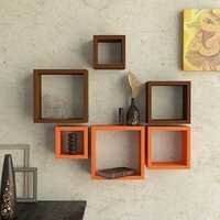 Desi Karigar Wall Mount Shelves Square Shape Set of 6 Wall Shelves - Brown & Orange