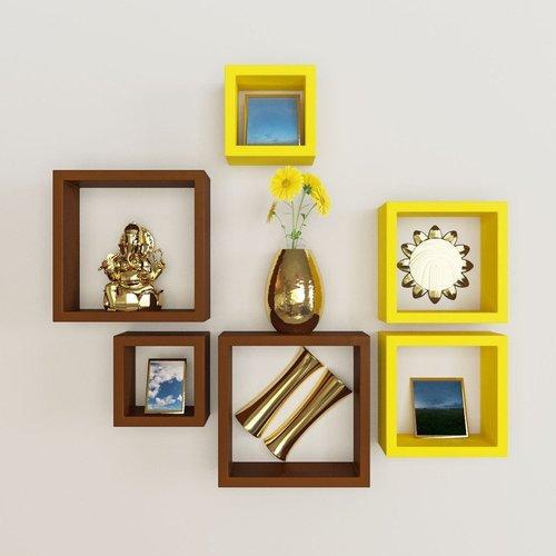 Desi Karigar Wall Mount Shelves Square Shape Set of 6 Wall Shelves - Brown & Yellow