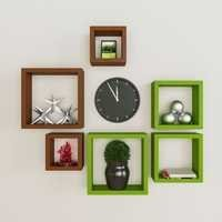 Desi Karigar Wall Mount Shelves Square Shape Set of 6 Wall Shelves - Brown & Green