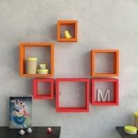 Desi Karigar Wall Mount Shelves Square Shape Set of 6 Wall Shelves - Orange & Red