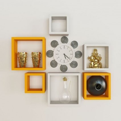 Desi Karigar Wall Mount Shelves Square Shape Set of 6 Wall Shelves - Orange & White